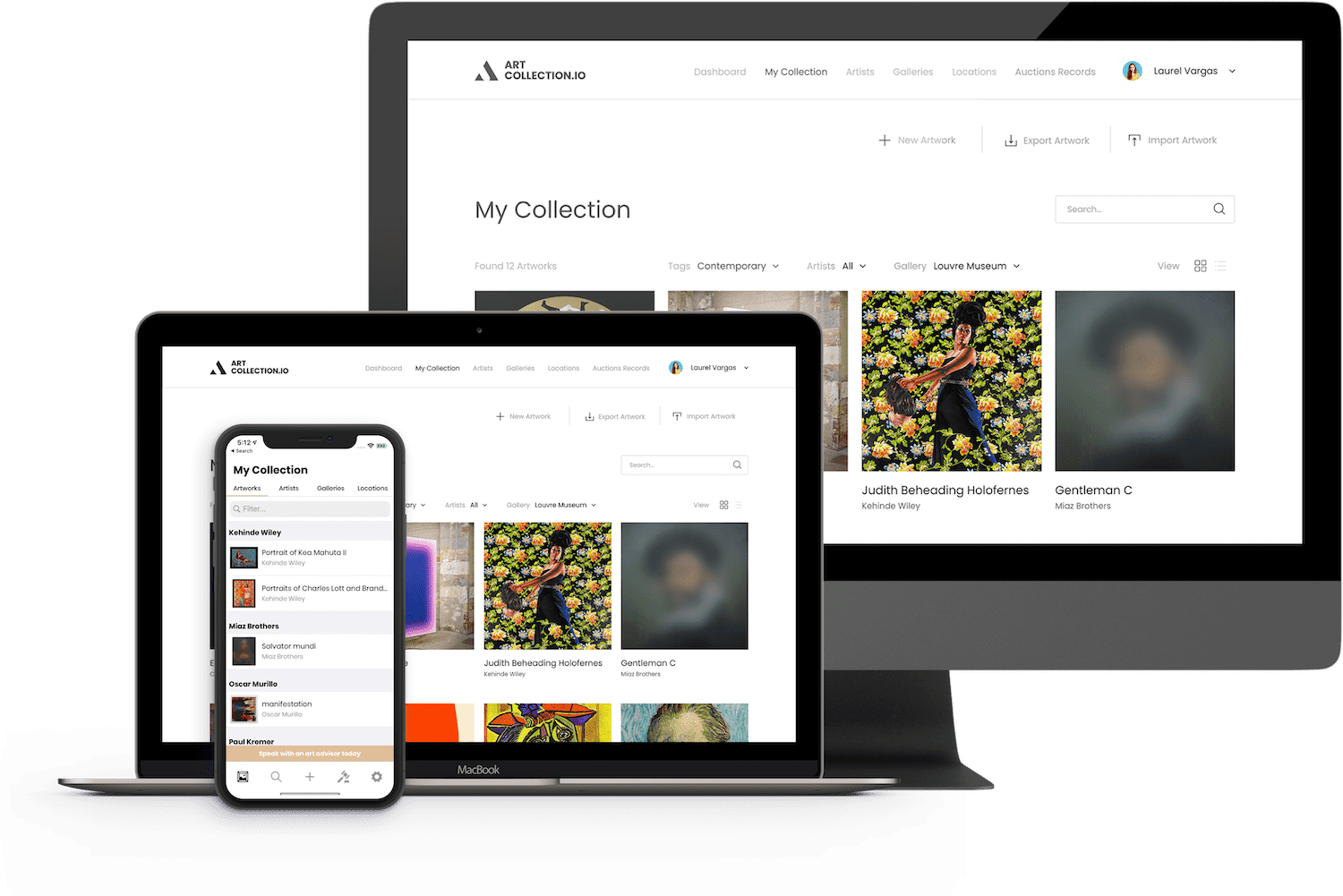 A computer, tablet, and phone showing the native ArtCollection.io applications.